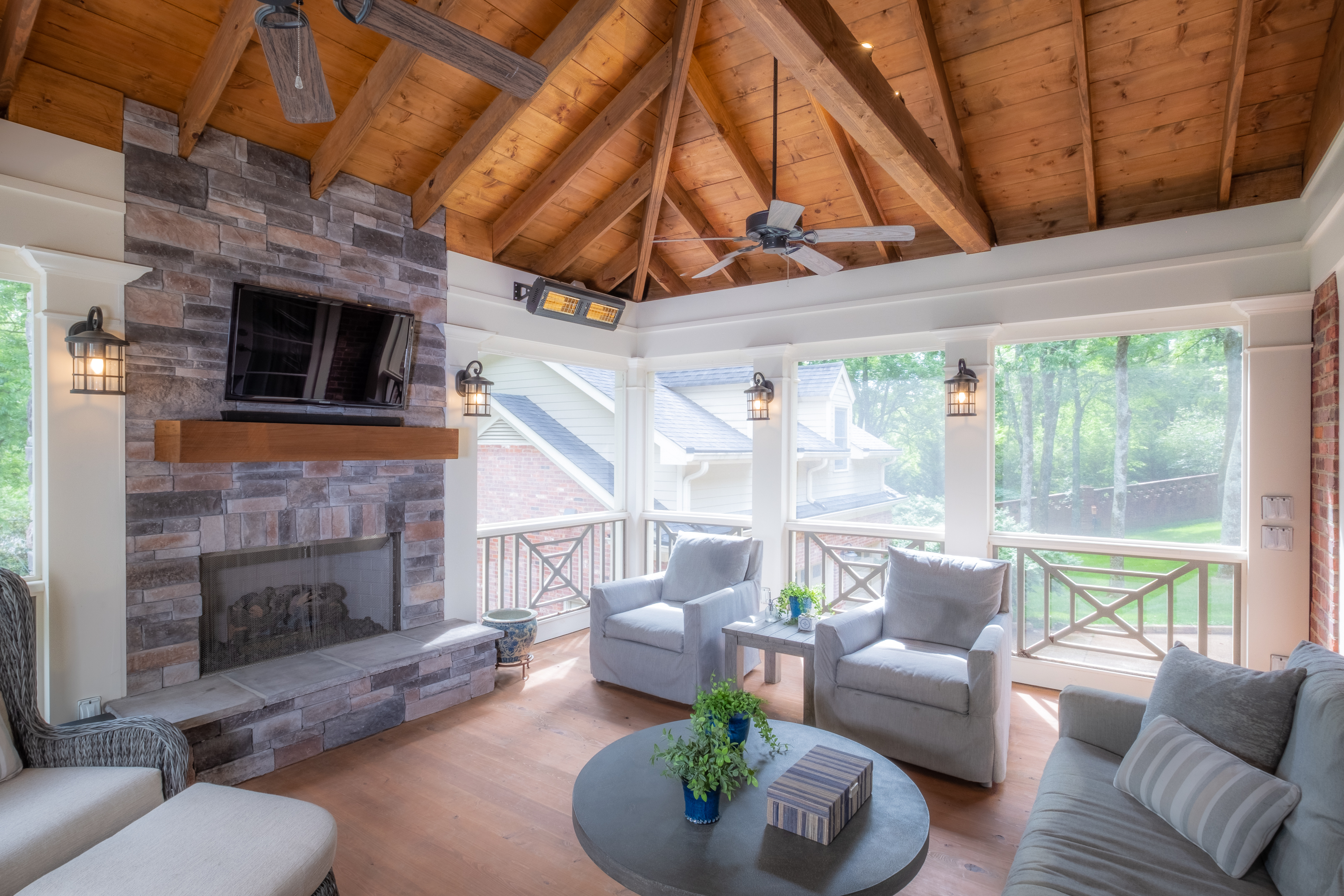 screened porch upper level fireplace