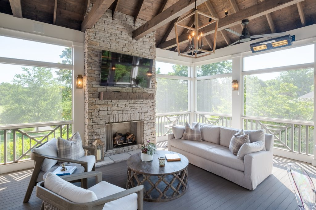 Brentwood screened porch with fireplace