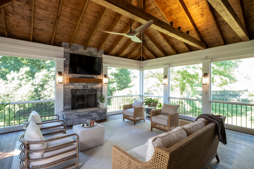 Franklin TN screened porch with outdoor fireplace