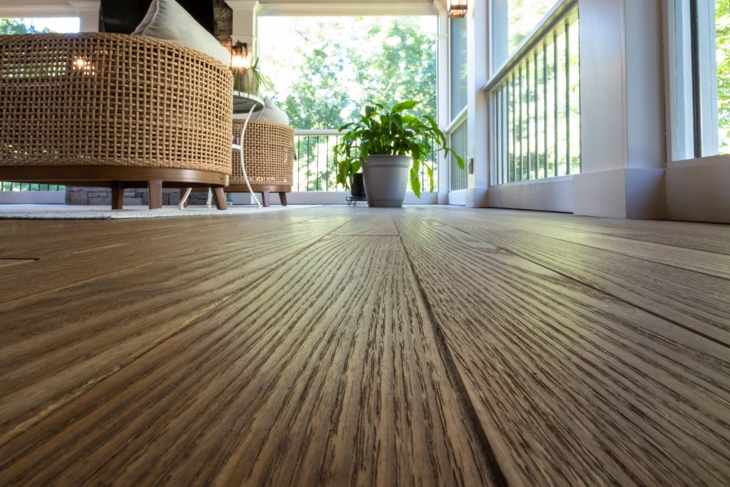 Franklin Tn screened porch featuring thermory ash flooring