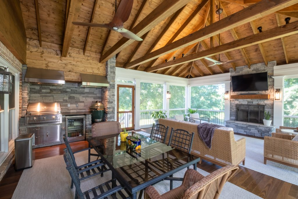 Franklin TN screened porch with outdoor kitchen